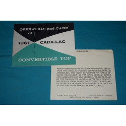 1961 Cadillac Convertible top operation manual