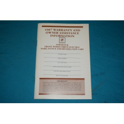 1987 Buick Owner Warranty book NOS