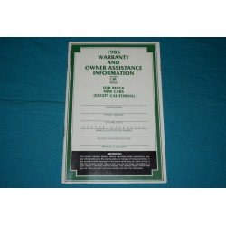 1985 Buick Owner Warranty book NOS