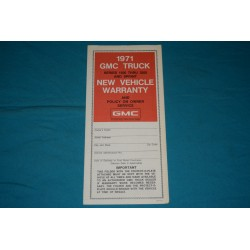 1971 GMC Jimmy / Truck / Sprint NOS Owner Protection plan
