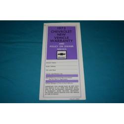 1973 Chevrolet Warranty book NOS