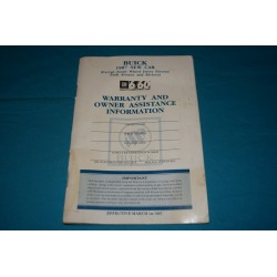 1987 Buick Owner Warranty book Blank