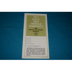 1971 Buick Owner Warranty book NOS