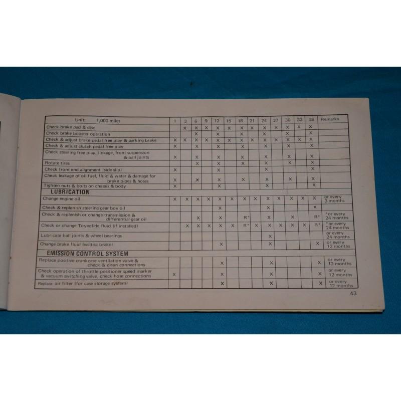 Original 1970 Toyota Corona Owners Manual
