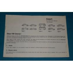 1972 Volkswagen USA update insert