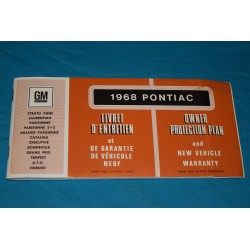 1968 Pontiac Warranty book NOS